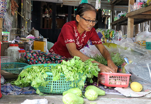 Daw Kyi Htay used a PGMF loan to bolster her grocery shop and seasonal plant business. (Photo: Aung Ba Thu/PGMF)