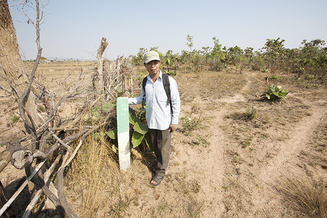 Ly Pheak stands at a boundary marker on land in Kla Kropeu that was once forested.