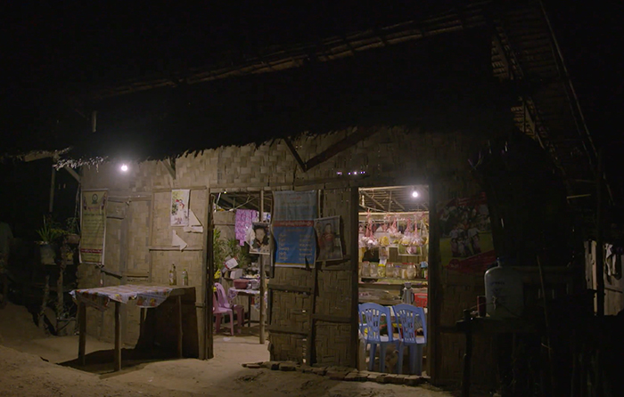 Solar-powered lighting outside a village shop.