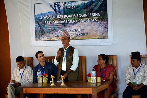 A local government official opens the training.