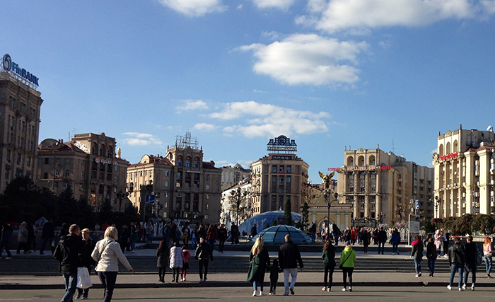 Maidan Square in 2018, when illegal signs topped many buildings. (Photo: Corinne Reilly/Pact)