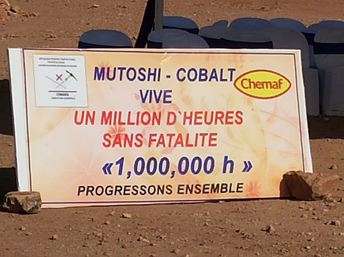 A sign at the Mutoshi site celebrating 1 million man hours worked without a fatality, which has since been exceeded.