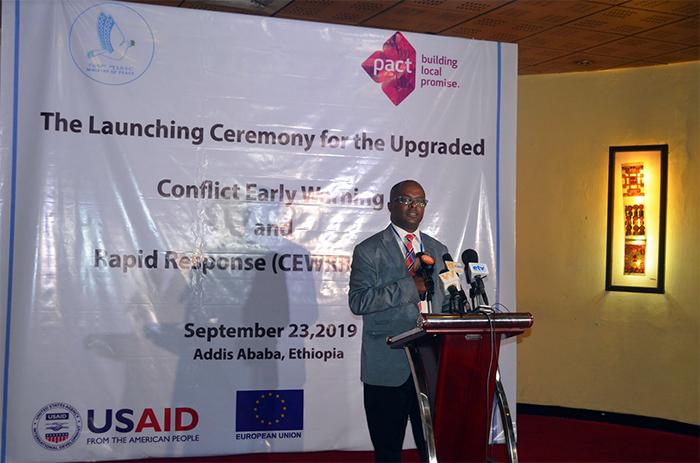 Amanuel Mulatu Dibaba, Pact's country director for Ethiopia, speaks at the CEWRR launch event.