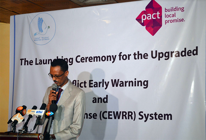 State Minister of Peace Alemayehu Ejigu speaks at the CEWRR launch ceremony.