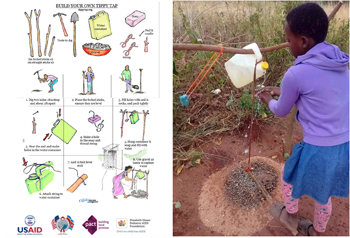 """After receiving instructions for how to build """"tippy taps"""" with common household items, families in Eswatini began sharing photos including this one of their homemade handwashing stations."""