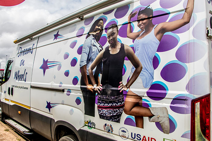 A DREAMS on Wheels mobile clinic. DREAMS stands for Determined, Resilient, Empowered, AIDS-free, Mentored and Safe.