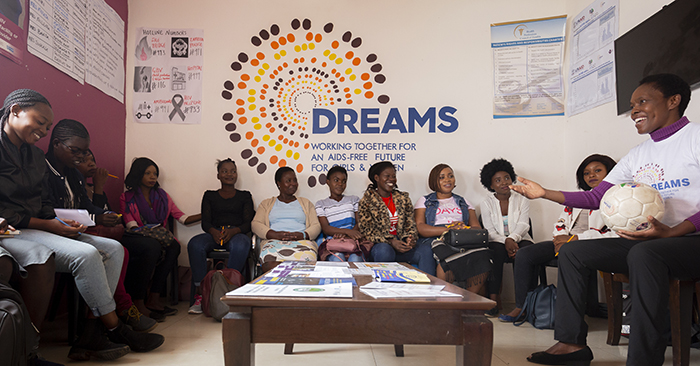 DREAMS participants take part in a 'Safe Space' group in Lusaka, Zambia. (Credit: Brian Clark/Pact)