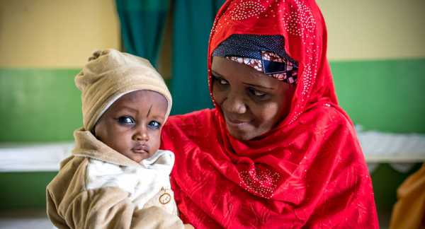 A mother and child at a health center in Gombe, Nigeria