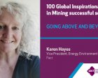 Karen Hayes selected 100 Global Inspirational Women in Mining 2020
