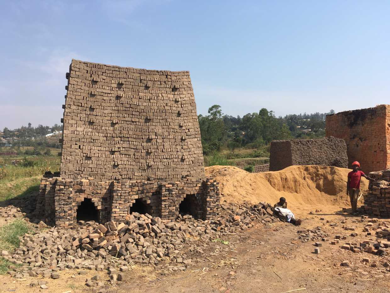 Artisanally mined bricks for construction in Rwanda
