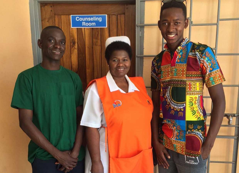 Justin Mwaba, Mirriam Phiri Biemba and Daniel Chiofu at the Twapia Health Center.