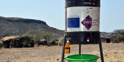 A Covid-19 hand-washing station in Ethiopia. (Credit: Pact)