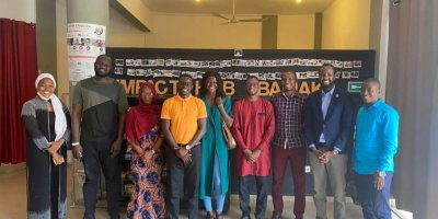 AfrIdea participants and US Embassy staff from Mali gather at Impact Hub Bamako for their first meet and greet in-person