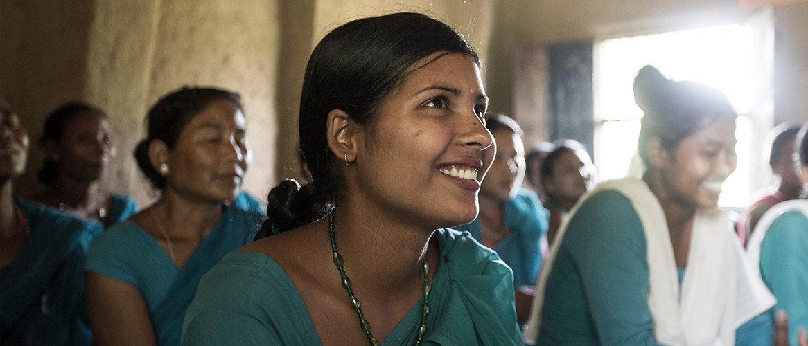 caption: Mina Chaudhary is a member of a Pact WORTH group in Nepal.
