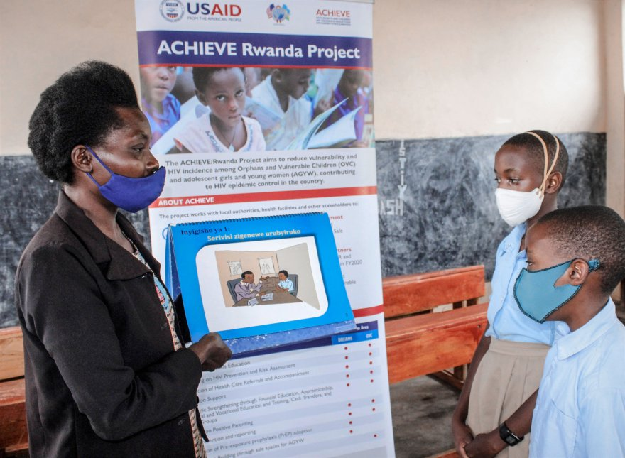 Children in Huye, Rwanda, take part in an ACHIEVE school youth club, where they learn about sexual and reproductive health and rights and violence and HIV prevention. Credit: ACHIEVE