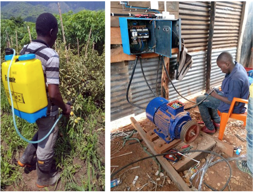 On the left, Hosea Samola works his farm. On the right, Thomas Jumanne Sizya uses his new electrical skills. (Credit: USAID Kizazi Kipya)