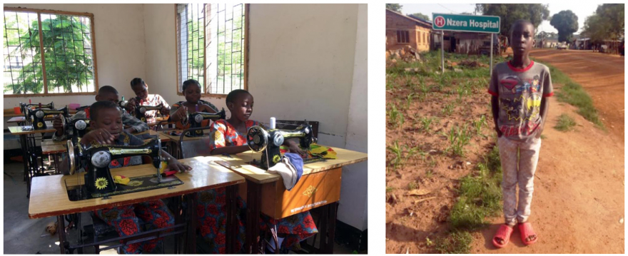 In the photo on the left, Joyce Mahembwa Sengalamo (first right) works at her sewing machine. On the right, Derick Dioniz. (Credit: Kizazi Kipya)