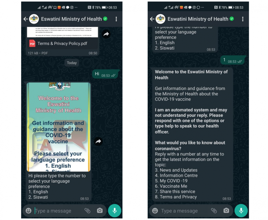 Screen shots of the Health Alert App.