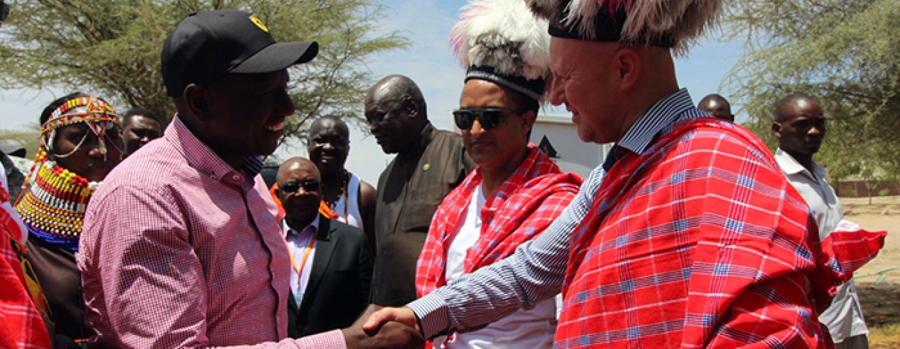 Deputy President William Ruto (left), Ethiopian Ambassador to Kenya Meles Alem (center) and EU Acting Ambassador and Head of Cooperation for Kenya Hubert Perr.